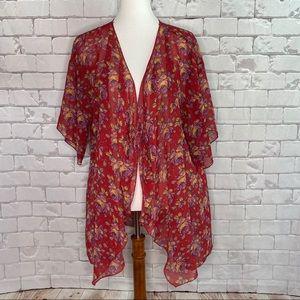 LulaRoe Red Rose Print Lindsay Kimono Size Large